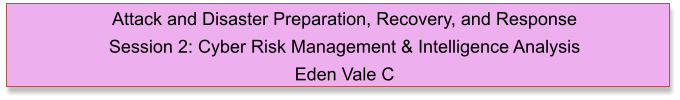 Attack and Disaster Preparation, Recovery, and Response  Session 2: Cyber Risk Management & Intelligence Analysis Eden Vale C