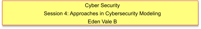 Cyber Security Session 4: Approaches in Cybersecurity Modeling Eden Vale B
