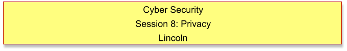 Cyber Security Session 8: Privacy Lincoln